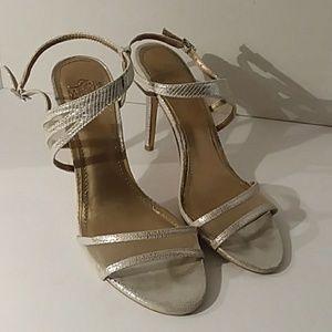 Belle Bagley Mischka silver heels